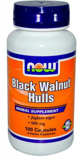 Black Walnut Hulls 500 mg 100 caps NOW